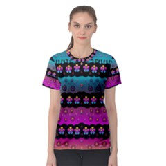 Rainbow  Big Flowers In Peace For Love And Freedom Women s Sport Mesh Tee