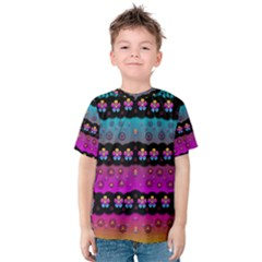 Rainbow  Big Flowers In Peace For Love And Freedom Kid s Cotton Tee