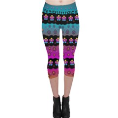 Rainbow  Big Flowers In Peace For Love And Freedom Capri Leggings