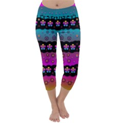 Rainbow  Big Flowers In Peace For Love And Freedom Capri Winter Leggings