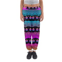Rainbow  Big Flowers In Peace For Love And Freedom Women s Jogger Sweatpants