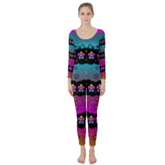 Rainbow  Big Flowers In Peace For Love And Freedom Long Sleeve Catsuit