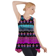 Rainbow  Big Flowers In Peace For Love And Freedom Side Drop Tank Tunic
