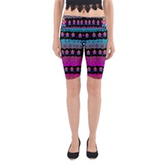 Rainbow  Big Flowers In Peace For Love And Freedom Yoga Cropped Leggings