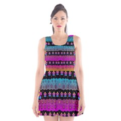 Rainbow  Big Flowers In Peace For Love And Freedom Scoop Neck Skater Dress