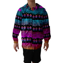 Rainbow  Big Flowers In Peace For Love And Freedom Hooded Wind Breaker (Kids)