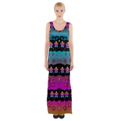 Rainbow  Big Flowers In Peace For Love And Freedom Maxi Thigh Split Dress