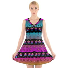 Rainbow  Big Flowers In Peace For Love And Freedom V Neck Sleeveless Skater Dress