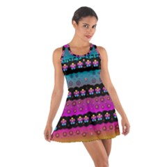 Rainbow  Big Flowers In Peace For Love And Freedom Racerback Dresses