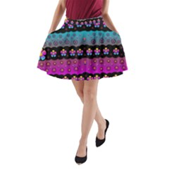 Rainbow  Big Flowers In Peace For Love And Freedom A-Line Pocket Skirt