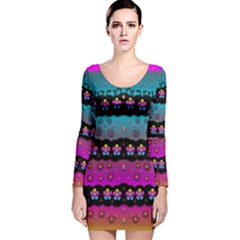 Rainbow  Big Flowers In Peace For Love And Freedom Long Sleeve Velvet Bodycon Dress