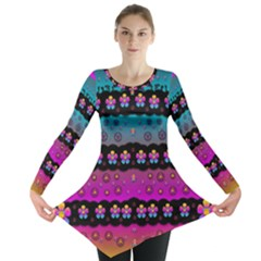 Rainbow  Big Flowers In Peace For Love And Freedom Long Sleeve Tunic