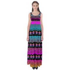 Rainbow  Big Flowers In Peace For Love And Freedom Empire Waist Maxi Dress