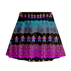 Rainbow  Big Flowers In Peace For Love And Freedom Mini Flare Skirt