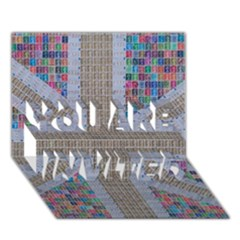 Multicoloured Union Jack You Are Invited 3d Greeting Card (7x5)