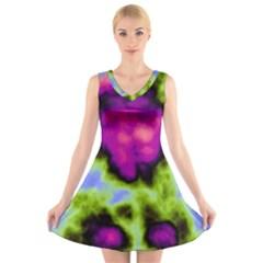 Insane Color V-Neck Sleeveless Skater Dress