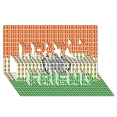 Indian Flag Best Friends 3D Greeting Card (8x4)