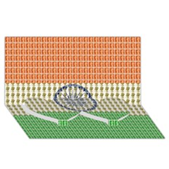 Indian Flag Twin Heart Bottom 3D Greeting Card (8x4)