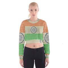 Indian Flag Women s Cropped Sweatshirt