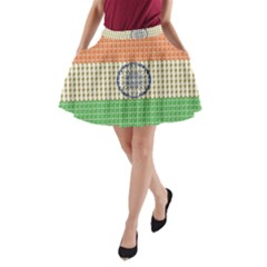 Indian Flag A-Line Pocket Skirt