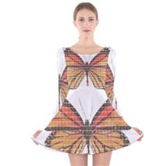 Butterfly Long Sleeve Velvet Skater Dress