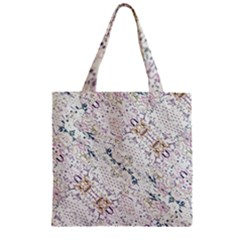 Oriental Floral Ornate Zipper Grocery Tote Bag