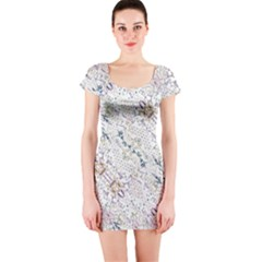 Oriental Floral Ornate Short Sleeve Bodycon Dress