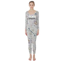 Oriental Floral Ornate Long Sleeve Catsuit