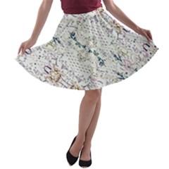 Oriental Floral Ornate A-line Skater Skirt