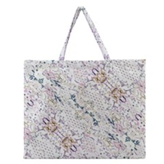 Oriental Floral Ornate Zipper Large Tote Bag