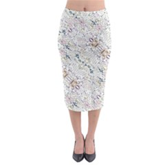 Oriental Floral Ornate Midi Pencil Skirt