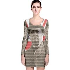 Winston Churchill Long Sleeve Velvet Bodycon Dress