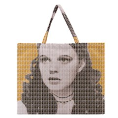 Over The Rainbow - Yellow Zipper Large Tote Bag