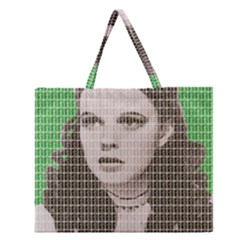 Over The Rainbow   Green Zipper Large Tote Bag