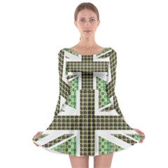 Green Flag Long Sleeve Skater Dress