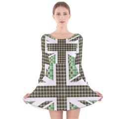 Green Flag Long Sleeve Velvet Skater Dress