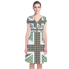 Green Flag Wrap Dress