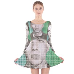 Sinatra Mug Shot Long Sleeve Velvet Skater Dress