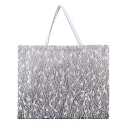 Grey Ombre Feather Pattern, White, Zipper Large Tote Bag