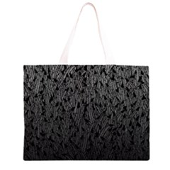 Grey Ombre Feather Pattern, Black, Zipper Large Tote Bag