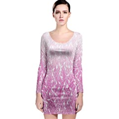 Pink Ombre Feather Pattern, White, Long Sleeve Bodycon Dress