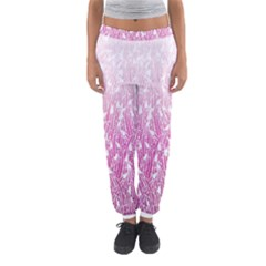 Pink Ombre Feather Pattern, White, Women s Jogger Sweatpants