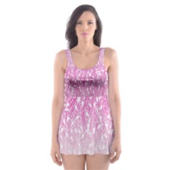 Pink Ombre Feather Pattern, White, Skater Dress Swimsuit