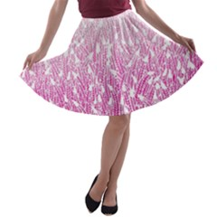 Pink Ombre Feather Pattern, White, A Line Skater Skirt