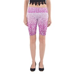 Pink Ombre Feather Pattern, White, Yoga Cropped Leggings