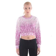 Pink Ombre Feather Pattern, White, Women s Cropped Sweatshirt