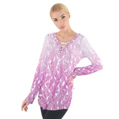 Pink Ombre Feather Pattern, White, Women s Tie Up Tee