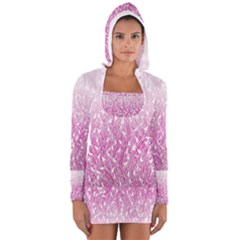 Pink Ombre Feather Pattern, White, Women s Long Sleeve Hooded T-shirt