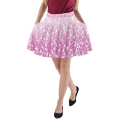 Pink Ombre Feather Pattern, White, A-Line Pocket Skirt