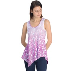 Pink Ombre Feather Pattern, White, Sleeveless Tunic